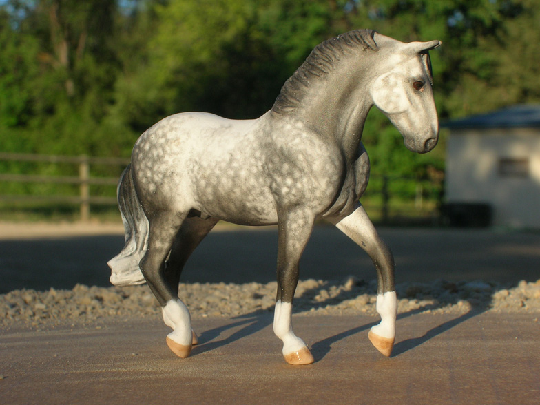>Dapple Gray Lippizaner Stallion custom mini model horse by Sarah Tregay (Breyer Stablemate)