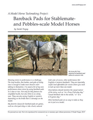 Make a bareback pad for Stablemate or Pebbles scale model horses.
