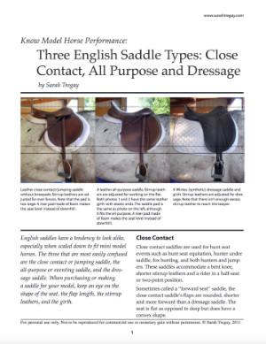 Three English Saddles for model horse performance Article FREE PDF author Sarah Tregay