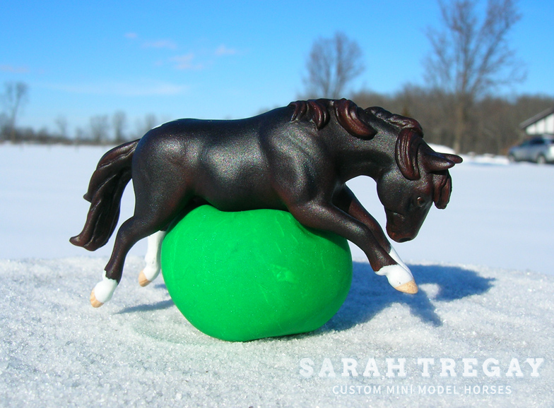 Basil with Yoga Ball, a Custom Mini Model Horse by Sarah Tregay