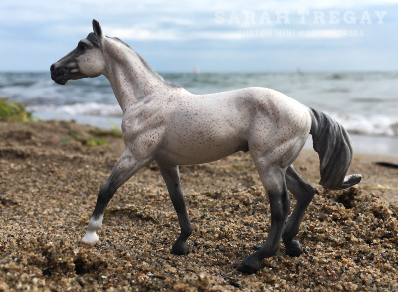 Custom mini model horse thoroughbred by Sarah Tregay from Breyer Stablemate Unicorn