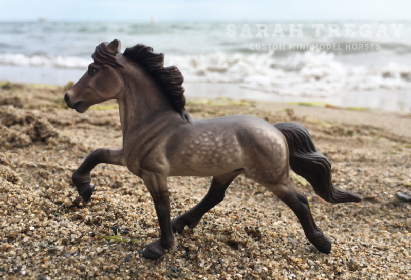 Dark Dapple Grulla Icelandic Pony. Pastel. custom mini model horse by Sarah Tregay (Breyer Stablemate)