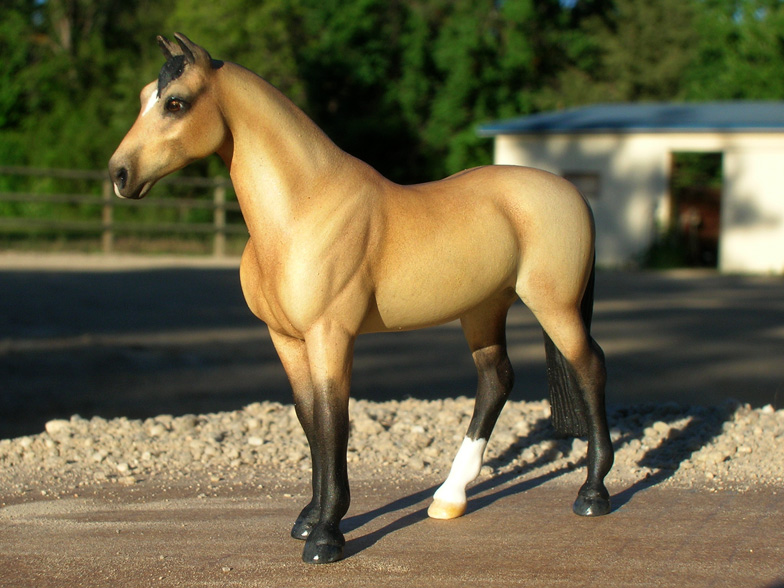 Custom buckskin hunter gelding from Breyer Stablemate by Sarah Tregay