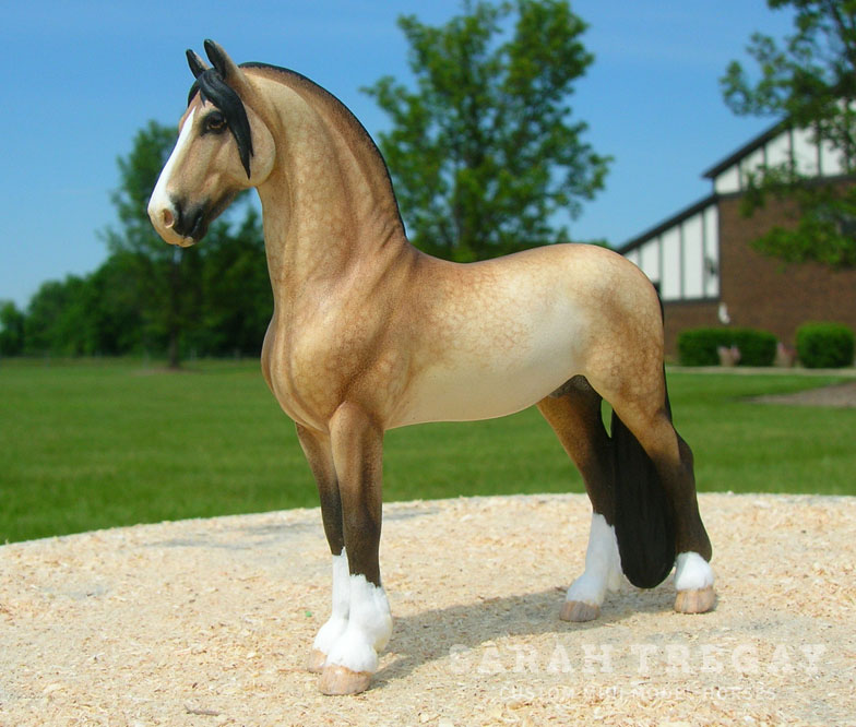 Custom mini model horse, Dapple buckskin Friesian / Spanish breed cross by Sarah Tregay