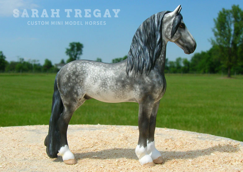 Custom mini model horse, Dapple Gray Friesian / Spanish breed cross by Sarah Tregay