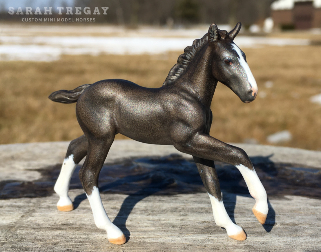 CM baby black foal filly  by Sarah Tregay, a Custom Mini/ Stablemate Model Horse