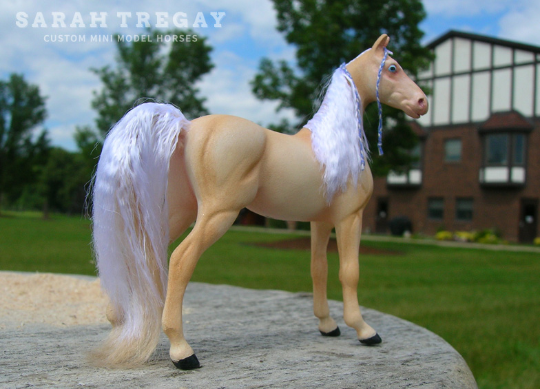 American Saddlebred in Creamello Custom Mini Model horse by Sarah Tregay