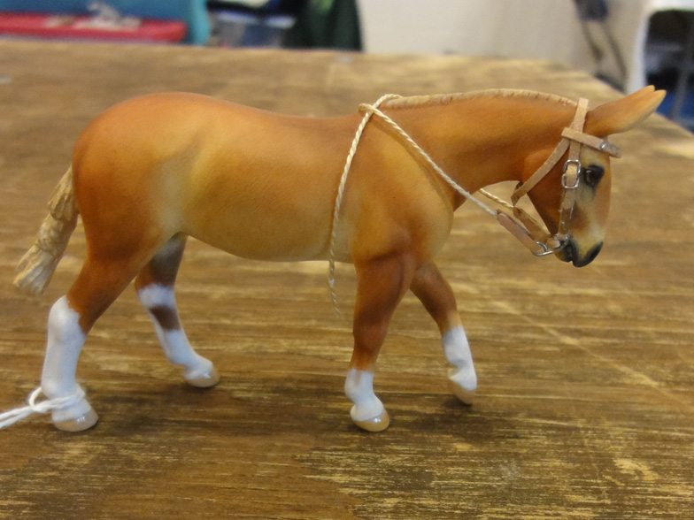 custom mini model mule in western bridle by Sarah Tregay (Breyer Stablemate paralympic dressage horse)
