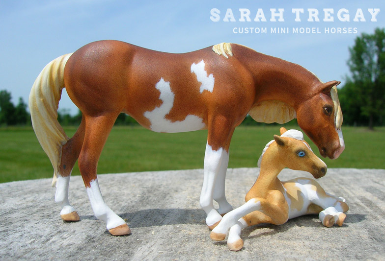 custom mini model horse by Sarah Tregay (Breyer Stablemate paint mare and foal)