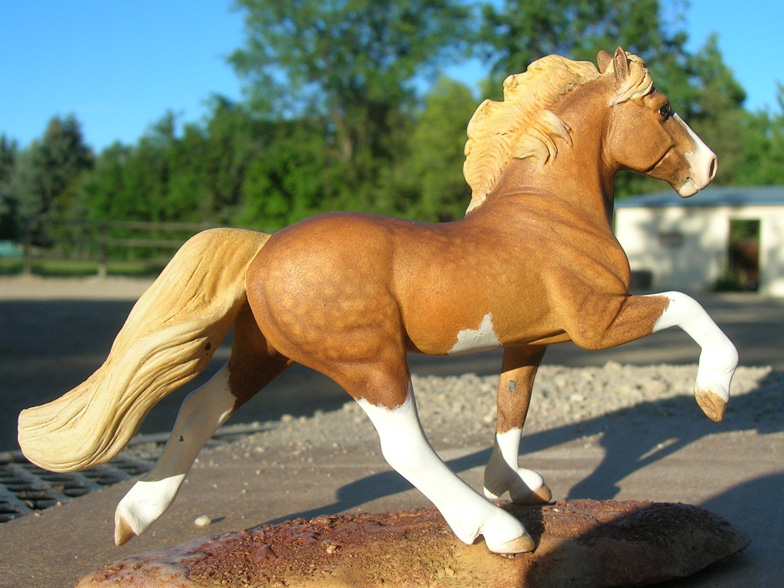 Dapple sorrel pinto Icelandic custom mini model horse by Sarah Tregay (Breyer Stablemate)