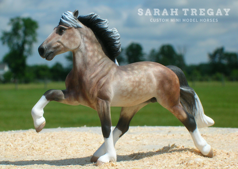 dapple gray / rose gray horse, Custom mini model horse by Sarah Tregay