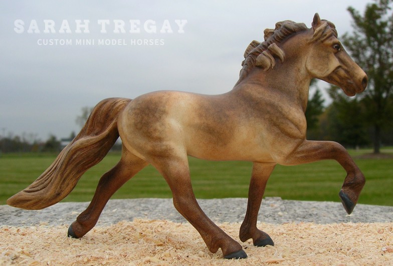 Liver chestnut dappled icelandic pony stallion repaint in pastel Custom Mini Model Horse by Sarah Tregay
