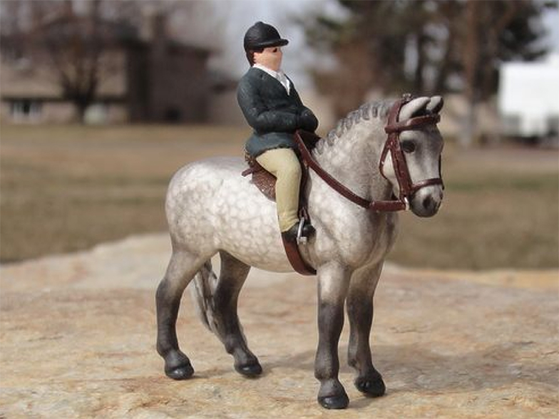 custom mini model horse by Sarah Tregay (Breyer Stablemate pony pastel dapple gray in tack)