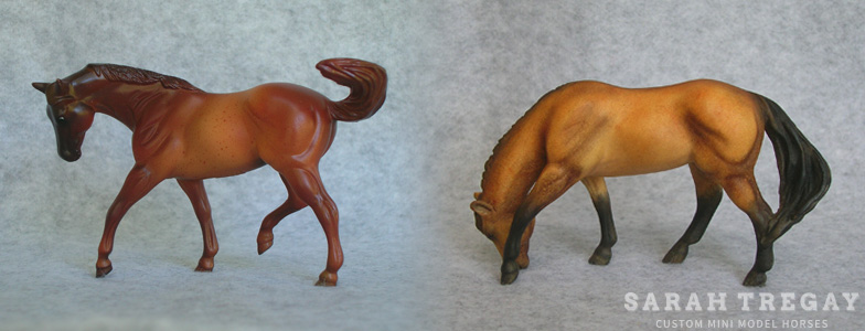 Breyer Stablemate Mold: Quarter Horse Mare (G1) - by Maureen Love, 1976, and custom mini by Sarah Tregay
