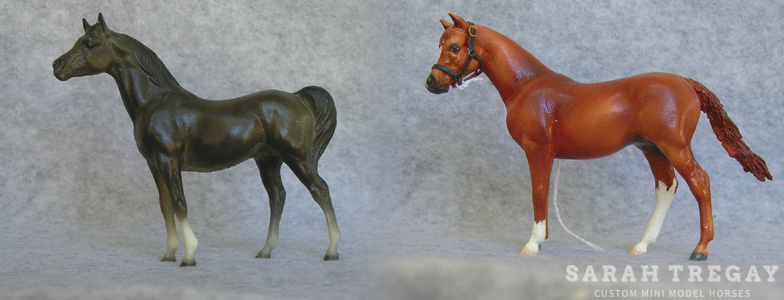 Breyer Stablemate Mold: Arabian Stallion (G1) by Maureen Love, 1975 and custom mini by Sarah Tregay
