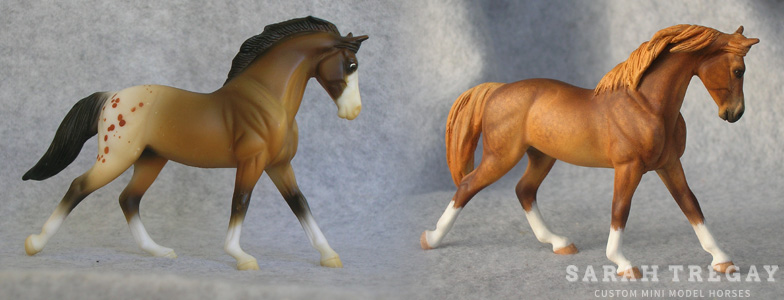 Breyer Stablemate Mold: Cantering Warmblood (G3) by Jane Lunger , 2006 and custom mini by Sarah Tregay