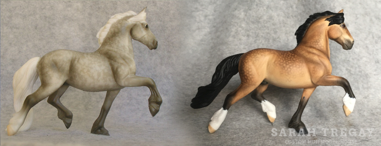 Breyer Stablemate Mold: Friesian (G3) by Jane Lunger , 2006, and custom mini by Sarah Tregay