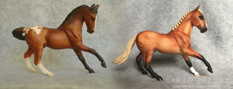 Breyer Stablemate Mold: Warmblood (G2) by Kathleen Moody, 1998, and custom mini by Sarah Tregay