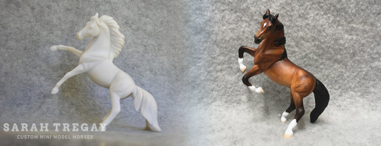Breyer Stablemate Mold: Rearing Andalusian (G3) by Jane Lunger, 2006, and custom mini by Sarah Tregay