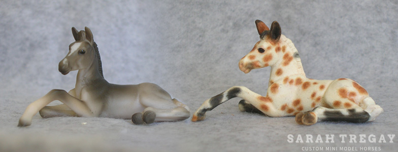 Breyer Stablemate Mold: Lying Foal (G3) by Jane Lunger , 2007 and custom mini by Sarah Tregay