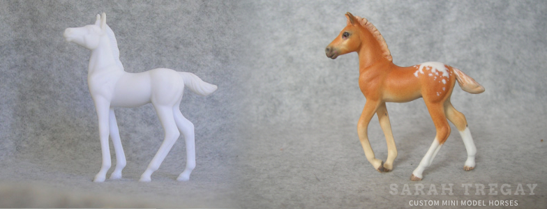 Breyer Stablemate Mold: Standing Foal (G3) by Jane Lunger, 2006 and custom mini by Sarah Tregay