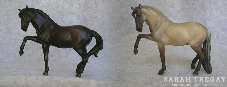 Breyer Stablemate Mold: Andalusian (G4) by Brigitte Eberl, 2013, and custom mini by Sarah Tregay