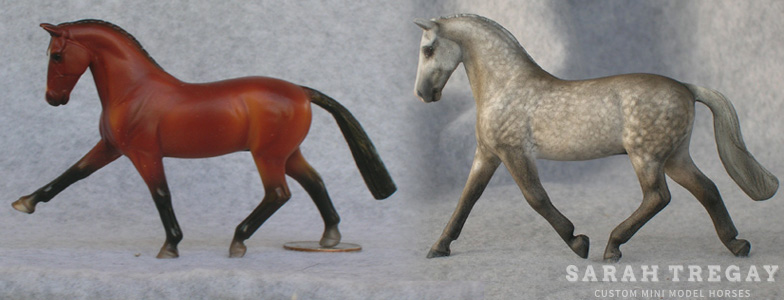 Breyer Stablemate Mold: Hanoverian (G4) by Jane Lunger (?) , 2010, and custom mini by Sarah Tregay