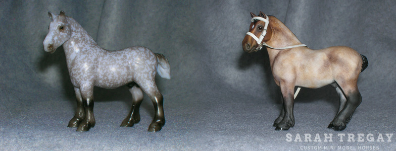 Breyer Stablemate Mold: Drafter/Para Vaulting (G3) by Kathleen Moody (?) , 2010 and custom mini by Sarah Tregay