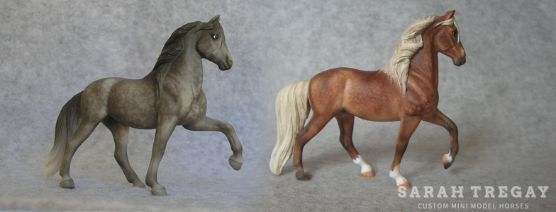 Breyer Stablemate Mold: Peruvian Paso (G3) by Jane Lunger, 2006 and custom mini by Sarah Tregay