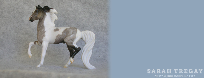Breyer Stablemate Mold: Morgan - Prancing (G2) by Kathleen Moody, 1998, and custom mini by Sarah Tregay