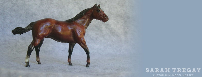Breyer Stablemate Mold: Quarter Horse Stallion (G1) - by Maureen Love , 1976, and custom mini by Sarah Tregay