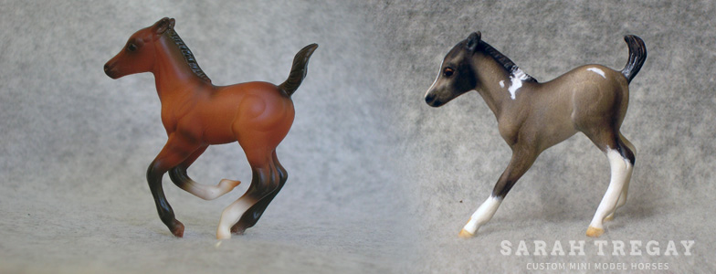 Breyer Stablemate Mold: Cantering Foal (G2) by Sarah Rose, 2000 and custom mini by Sarah Tregay