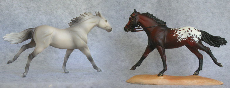 Breyer Stablemate Mold: Running Thoroughbred (G2) by Kathleen Moody, 1998 and custom mini appy sporthorse by Sarah Tregay