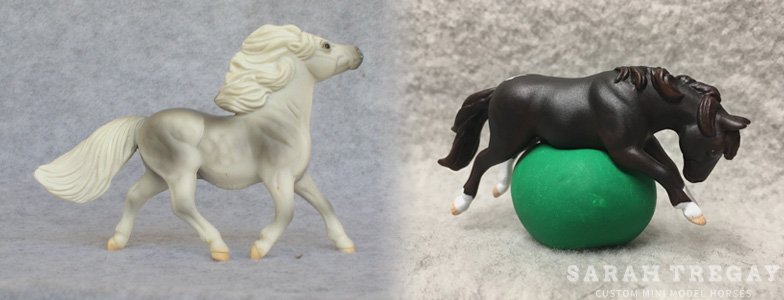Breyer Stablemate Mold: Shetland Pony (G2) by Kathleen Moody , 1998 and custom mini by Sarah Tregay