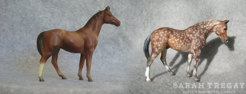 Breyer Stablemate Mold: Swaps (G1) by Maureen Love, 1976, and custom mini by Sarah Tregay