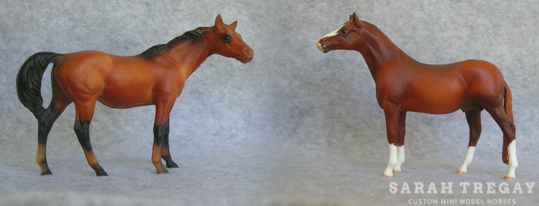 Breyer Stablemate Mold: Thoroughbred Mare (G1) - by Maureen Love , 1976, and custom mini by Sarah Tregay