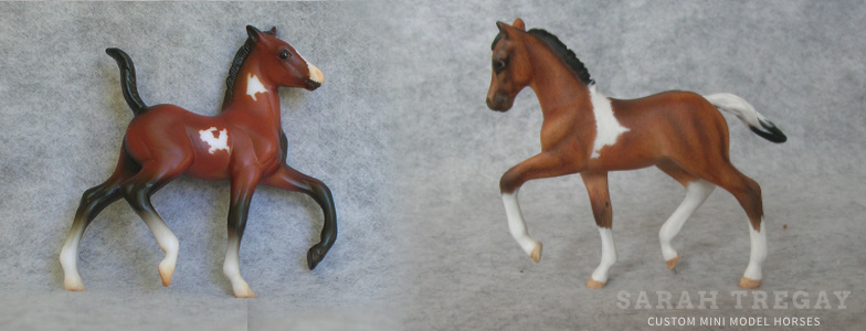 Breyer Stablemate Mold: Trotting Foal (G2) by Sarah Rose, 2000 and custom mini by Sarah Tregay