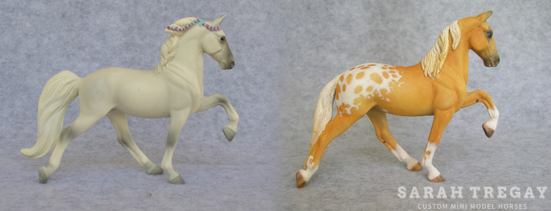 Breyer Stablemate Mold: Tennessee Walking Horse (G3) by Jane Lunger , 2006, and custom mini by Sarah Tregay