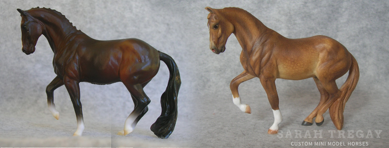Breyer Stablemate Mold: Valegro (G5) by Jennifer Scott, 2016, and custom mini by Sarah Tregay