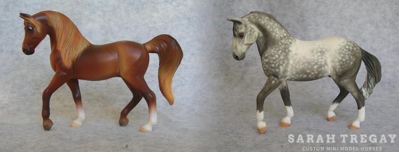 Breyer Stablemate Mold: Arabian - Walking (G3) by Jane Lunger, 2006, and custom mini by Sarah Tregay
