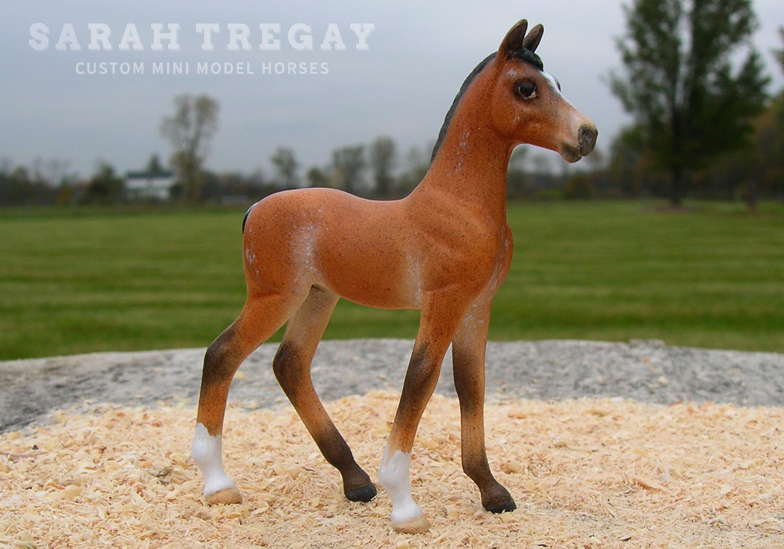 Custom mini model horse, Roan Sport Breed Colt from Breyer Standing Foal by Sarah Tregay