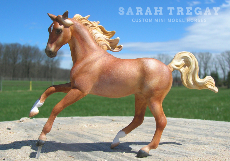 Custom Mini Model Horse by Sarah Tregay, Sorrel Morab (Morgan / Arabian Mare from Magnolia Unicorn Breyer Stablemate