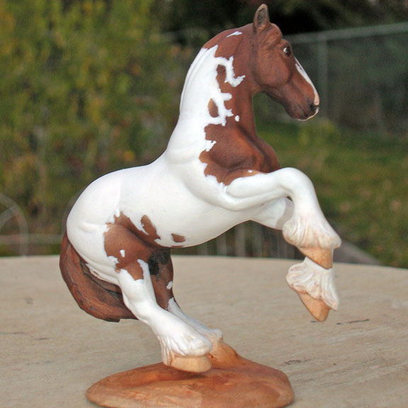 custom mini model horse by Sarah Tregay (pinto breyer drafter)