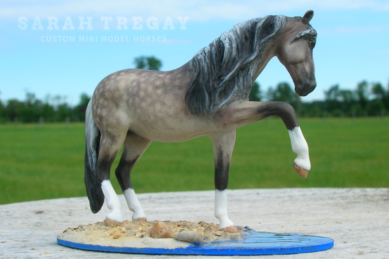 Andalusian Mare Custom Mini Model Horse by Sarah Tregay