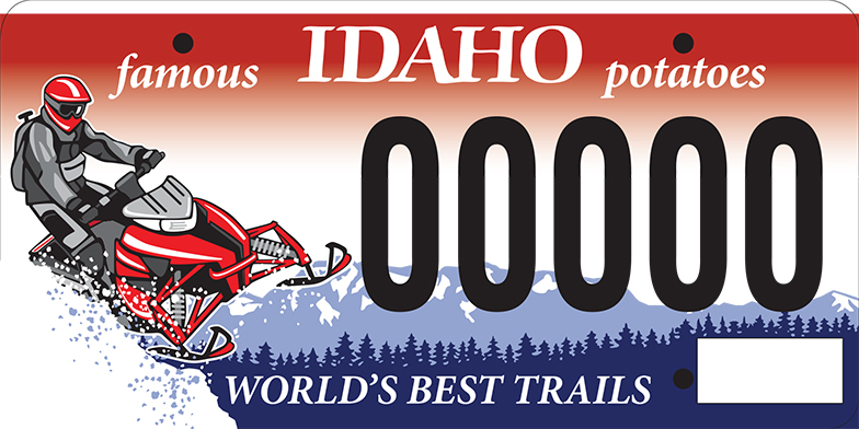 Idaho Snowmobile License plate illustration by Sarah Tregay.