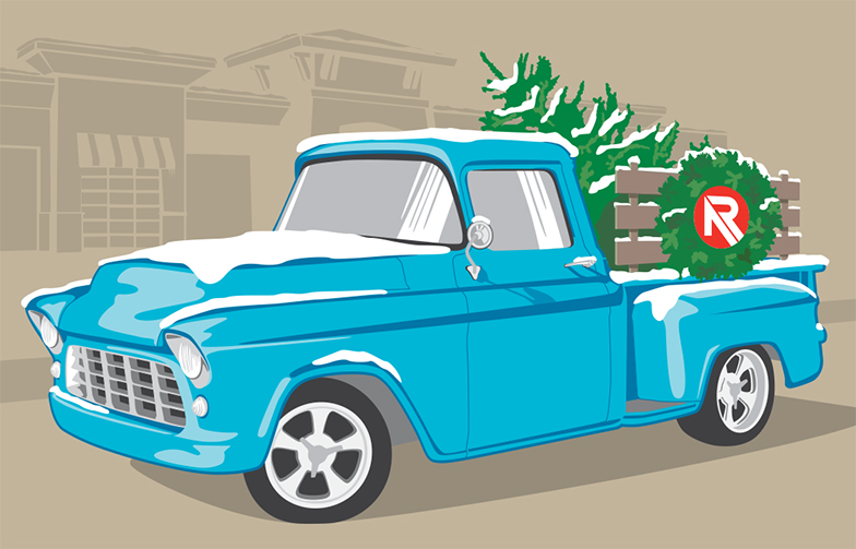 Holiday classic truck illustration by Sarah Tregay.